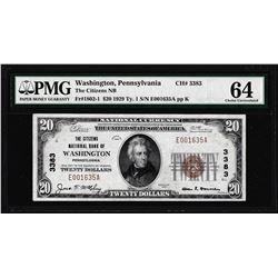 1929 $20 Citizens NB Washington, PA CH# 3383 National Note PMG Choice Uncirculated 64