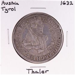1632 Austria Tyrol Thaler Silver Coin