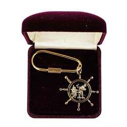 1987 Disney Gold Plated Keychain Steamboat Willie 1/10 oz .999 Fine Silver Medal w/Box