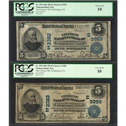 Lot of (2) 1902PB $5 Washington, PA CH# 3383 National Currency Notes PCGS Very Good 10