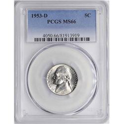 1953-D Jefferson Nickel Coin PCGS MS66
