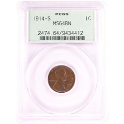 1914-S Lincoln Wheat Cent Coin PCGS MS64BN Old Green Holder