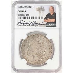 1921 $1 Morgan Silver Dollar Coin NGC Genuine Rick Harrison Signature
