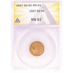 1927 $2 1/2 Indian Head Quarter Eagle Gold Coin ANACS MS61