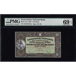 1952 Switzerland 5 Franken Note Pick# 11p PMG Superb Gem Uncirculated 69EPQ