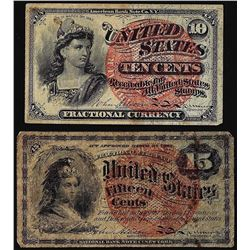 Lot of (2) Fourth Issue Fractional Currency Notes