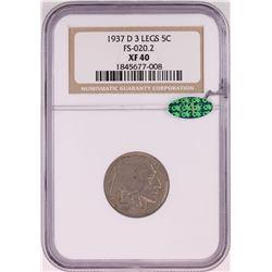 1937-D 3 Legs Buffalo Nickel Coin NGC XF40 CAC FS-020.2