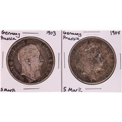 Lot of 1903-1904 Germany Prussia 5 Mark Silver Coins