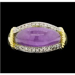 14KT Yellow Gold Ladies 0.10 ctw Diamond and Lavender Jade Ring