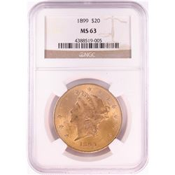 1899 $20 Liberty Head Double Eagle Gold Coin NGC MS63