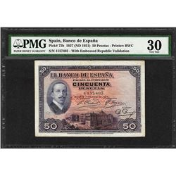 1927 Spain Banco de Espana 50 Pesetas Note Pick# 72b PMG Very Fine 30