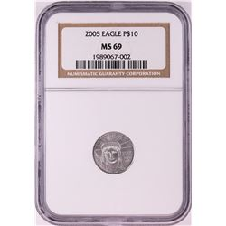 2005 $10 American Platinum Eagle Coin NGC MS69