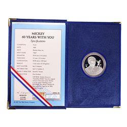 "1988 Rarities Mint Disney Mickey ""Mickey and Walt"" 1oz. Fine Silver Round w/Box & COA"