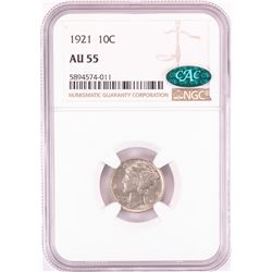 1921 Mercury Dime Coin NGC AU55 CAC