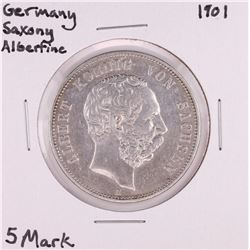 1901 Germany Saxony Albertine 5 Mark Silver Coin