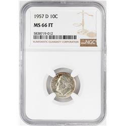1957-D Roosevelt Dime Coin NGC MS66FT