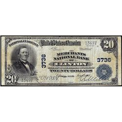1902 $20 Merchants National Bank of Clinton, IA CH# 3736 National Currency Note