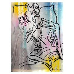 "Mark Kostabi ""Let'S Google That"" Original Mixed Media Painting"