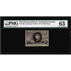 1863 50 Cent Second Issue Fractional Note Fr.1321 PMG Choice Uncirculated 63