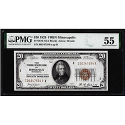 1929 $20 Federal Reserve Bank Note Minneapolis Fr.1870-I PMG About Uncirculated 55