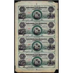 Uncut Sheet of (4) 1800's $1 The State Bank at New Brunswick, NJ Obsolete Notes
