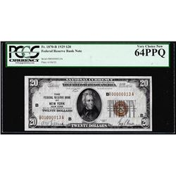 Low Serial #13 - 1929 $20 Federal Reserve Bank Note New York PCGS Very Choice New 64PPQ