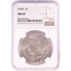 1925 $1 Peace Silver Dollar Coin NGC MS65
