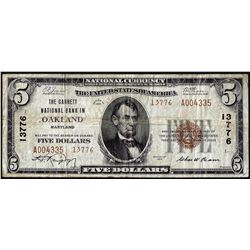 1929 Type 2 $5 Garrett NB in Oakland, Maryland CH# 13776 National Currency Note