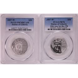 Set of 2007-W $100 Proof Platinum American Eagle Coins PCGS PR70/PR70DCAM