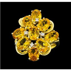 14KT Yellow Gold Ladies 7.50 ctw Citrine and Diamond Cluster Ring