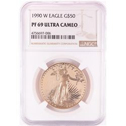 1990-W Proof $50 American Gold Eagle Coin NGC PF69 Ultra Cameo