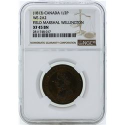 1813 Canada 1/2 Penny WE-2A2 Coin NGC XF45BN