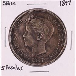 1897 Spain 5 Pesetas Silver Coin