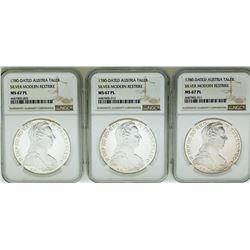 Lot of (3) 1780 Austria Taler Restrike Silver Coins NGC MS67PL