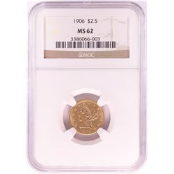 1906 $2 1/2 Liberty Head Quarter Eagle Gold Coin NGC MS62