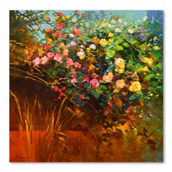 """Ming Feng """"Rambling Roses"""" Original Oil Painting on Canvas"""