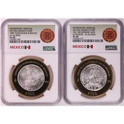 Lot of (2) 2013 Mo Mexico 100 Pesos Bi-Metal Silver Coins NGC PL69