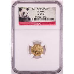2011 China 20 Yuan Panda Gold Coin NGC MS70