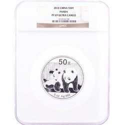 2010 Proof China 50 Yuan 5oz Silver Panda Coin NGC PF69 Ultra Cameo