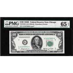 1950E $100 Federal Reserve Note Chicago Fr.2162-G PMG Gem Uncirculated 65EPQ