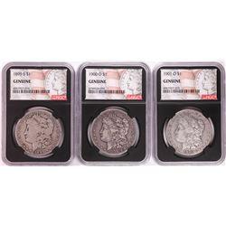 Lot of 1899-S, 1900-O, & 1901-O $1 Morgan Silver Dollar Coins NGC Genuine