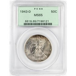1943-D Walking Liberty Half Dollar Coin PCGS MS65 Old Green Holder