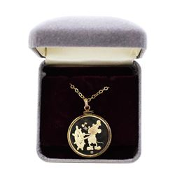1987 Disney Gold Plated Pendant & Chain Steamboat Willie 1/4 oz .999 Fine Silver Medal