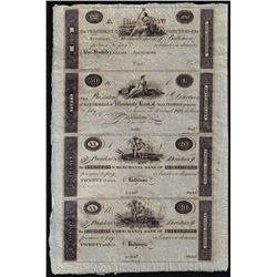 Uncut Sheet of 1800's $20/20/50/100 Farmer's & Merchants Bank Baltimore Obsolete Notes