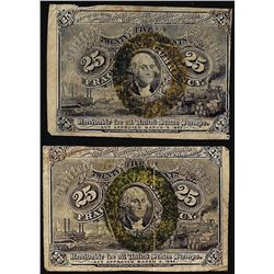 Lot of (2) 1863 Twenty-Five Cent Second Issue Fractional Currency Notes