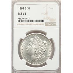 1892-S $1 Morgan Silver Dollar Coin NGC MS61