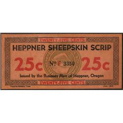 1934 Twenty-Five Cents Heppner Sheepskin Oregon Obsolete Scrip