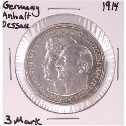 1914 Germany Anhalt Dessall 3 Mark Silver Coin
