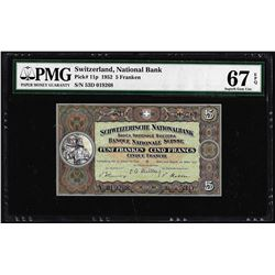 1952 Switzerland 5 Franken Note Pick# 11p PMG Superb Gem Uncirculated 67EPQ