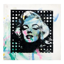 "Gail Rodgers ""Marilyn Monroe"" Original Painting on Silkscreen Canvas"